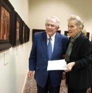 "University Chancellor M. G. ""Pat"" Robertson with Dr. Hutchins at the opening of The Auschwitz Album Revisited."