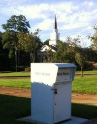 Enjoy panoramic vistas of the campus as you return your items at Book Drop 2.