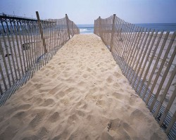 Fenced pathway leading down to the Atlantic Ocean, Carolina Beach, North Carolina, USA