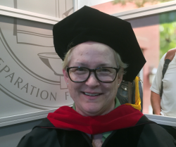 Newly-minted Doctor of Ministry Esther Gillie last May